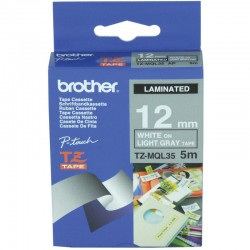 BROTHER Ruban TZeMQL35 (5m) 12mm Laminé Blanc /Gris clair
