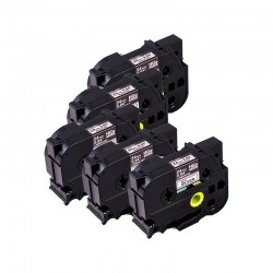 BROTHER Pack de 5 Rubans HGeM951 24mm Noir /Mat argenté