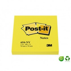 POST-IT Bloc couleurs néon jaune 76 x 76 mm