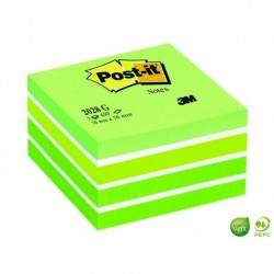 POST-IT Bloc cube Gamme Aquarelle vert