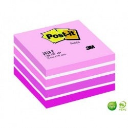 POST-IT Bloc cube Gamme Aquarelle rose