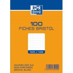 OXFORD Fiches bristol non perforées blanches quadrillées 10,5 x 14,8cm