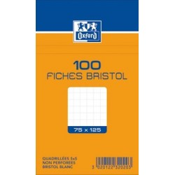 OXFORD Fiches bristol non perforées blanches quadrillées 7,5 x 12,5cm