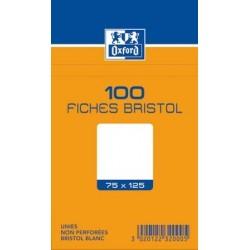 OXFORD Fiches bristol non perforées blanches unies 7,5 x 12,5cm