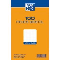 OXFORD Fiches bristol non perforées blanches quadrillées 12,5 x 20cm