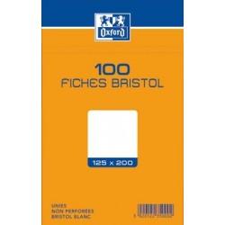 OXFORD Fiches bristol non perforées blanches unies 12,5 x 20cm