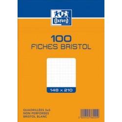 OXFORD Fiches bristol non perforées blanches quadrillées 14,8 x 21cm