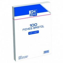 OXFORD Fiches bristol non perforées blanches unies 21 x 29,7cm
