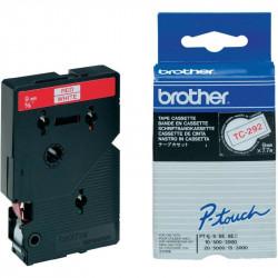 BROTHER Cassette ruban TC292 (7,7m) 9mm Rouge/Blanc