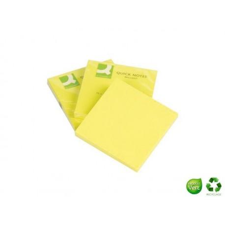 Q-CONNECT Bloc Quick notes néon jaune