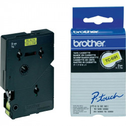 BROTHER Cassette ruban TC691 (7,7m) 9mm Noir/Jaune