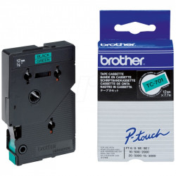 BROTHER Cassette ruban TC701 (7,7m) 12mm Noir/Vert