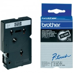 BROTHER Cassette ruban TC395 (7,7m) 9mm Blanc/Noir