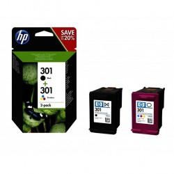 HP 301 Pack de 2 cartouches d'encre (Noir + Trois couleurs) authentiques (N9J72AE)