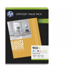 HP 903XL Pack de 3 cartouches d'encre ( Cyan, Magenta, Jaune) authentiques (1CC20AE) + papiers