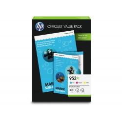 HP 953XL Pack de 3 cartouches d'encre (Cyan, Magenta, Jaune) authentiques (1CC21AE) + papiers