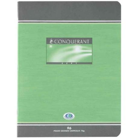 CONQUERANT Cahier 7 piqûre L17 x H22 cm 96 pages, grands carreaux