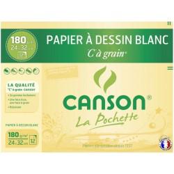 CANSON Papier dessin à grain 24x32cm 180gr 12 feuilles