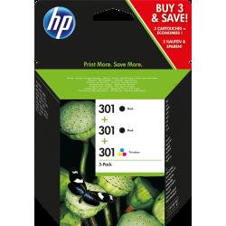 HP 301 Pack 2 cartouches noir + 1 cartouche couleurs (E5Y87EE)