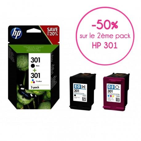 hp 301 pack 2 cartouches noir + couleurs