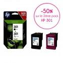 2 x Packs HP 301 (Noir + Trois couleurs) authentiques (N9J72AE)