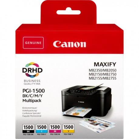 Canon PGI-1500 Pack de 4 cartouches (noir, cyan, magenta, jaune)