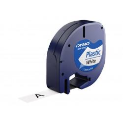 DYMO Ruban Letratag Plastique 12mm x 4m noir / blanc