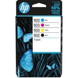 HP 932/933 Pack de 4 Cartouches authentiques (Noir,Cyan,Magenta,Jaune) (6ZC71AE)