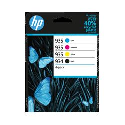 HP 934/935 Pack de 4 Cartouches authentiques (Noir,Cyan,Magenta,Jaune) (6ZC72AE)