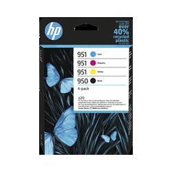 HP 950/951 Pack de 4 Cartouches authentiques (Noir,Cyan,Magenta,Jaune) (6ZC65AE)