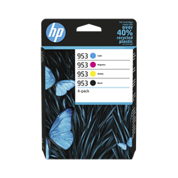 HP 953 Pack de 4 Cartouches authentiques (Noir,Cyan,Magenta,Jaune) (6ZC69AE)