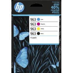 HP 963 Pack de 4 Cartouches authentiques (Noir,Cyan,Magenta,Jaune) (6ZC70AE)
