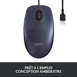 Logitech B100 Souris Filaire USB - Ambidextre - Noire