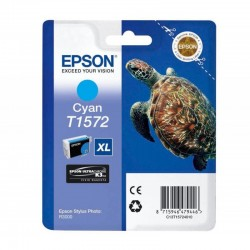"EPSON Cartouche ""Tortue"" T1572 Encre UC K3 VM Cyan 25,9ml"