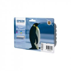 "EPSON Multipack ""Pingouin""T05597 Encres QuickDry N,C,Cc,M,Mc,J 78ml"
