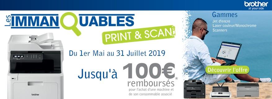 Jusqu'à 100€ remboursés sur les machines et scanners BROTHER !