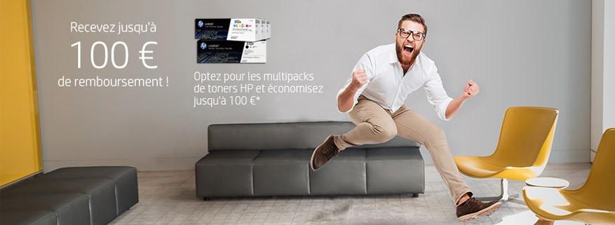 Jusqu'à 100€ remboursés sur les packs de toners HP authentiques !