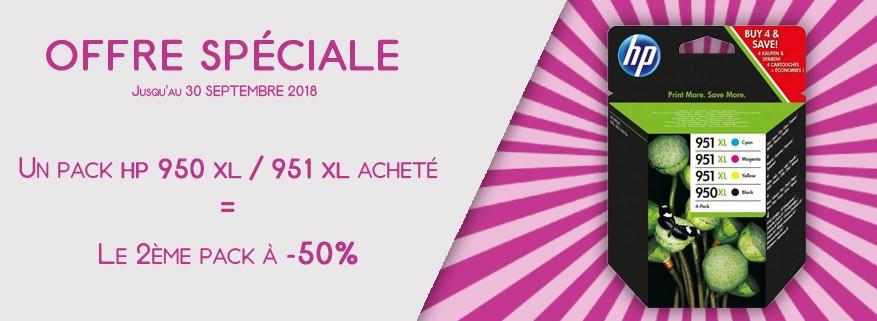 Pack HP 950XL 951XL : -50% sur le 2ème pack !